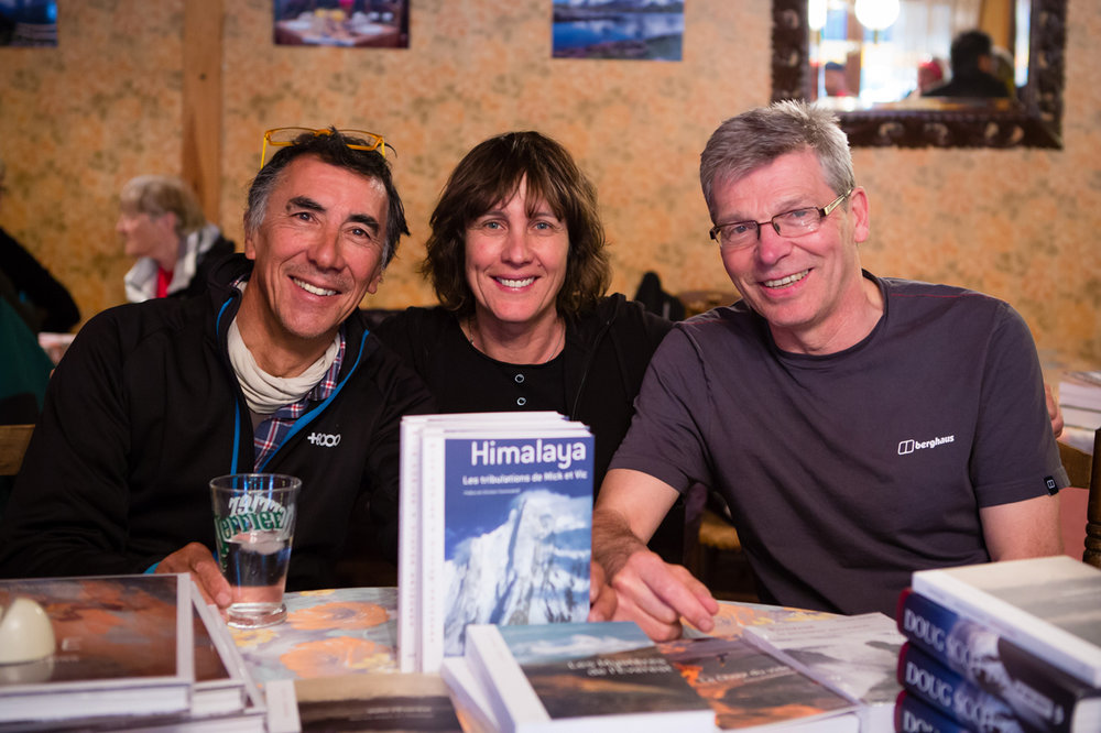 Vic Saunders, Catherine Destivelle (whose company has published Les Tribulations) and Mick Fowler Photo credit: piotrdrozdzphoto