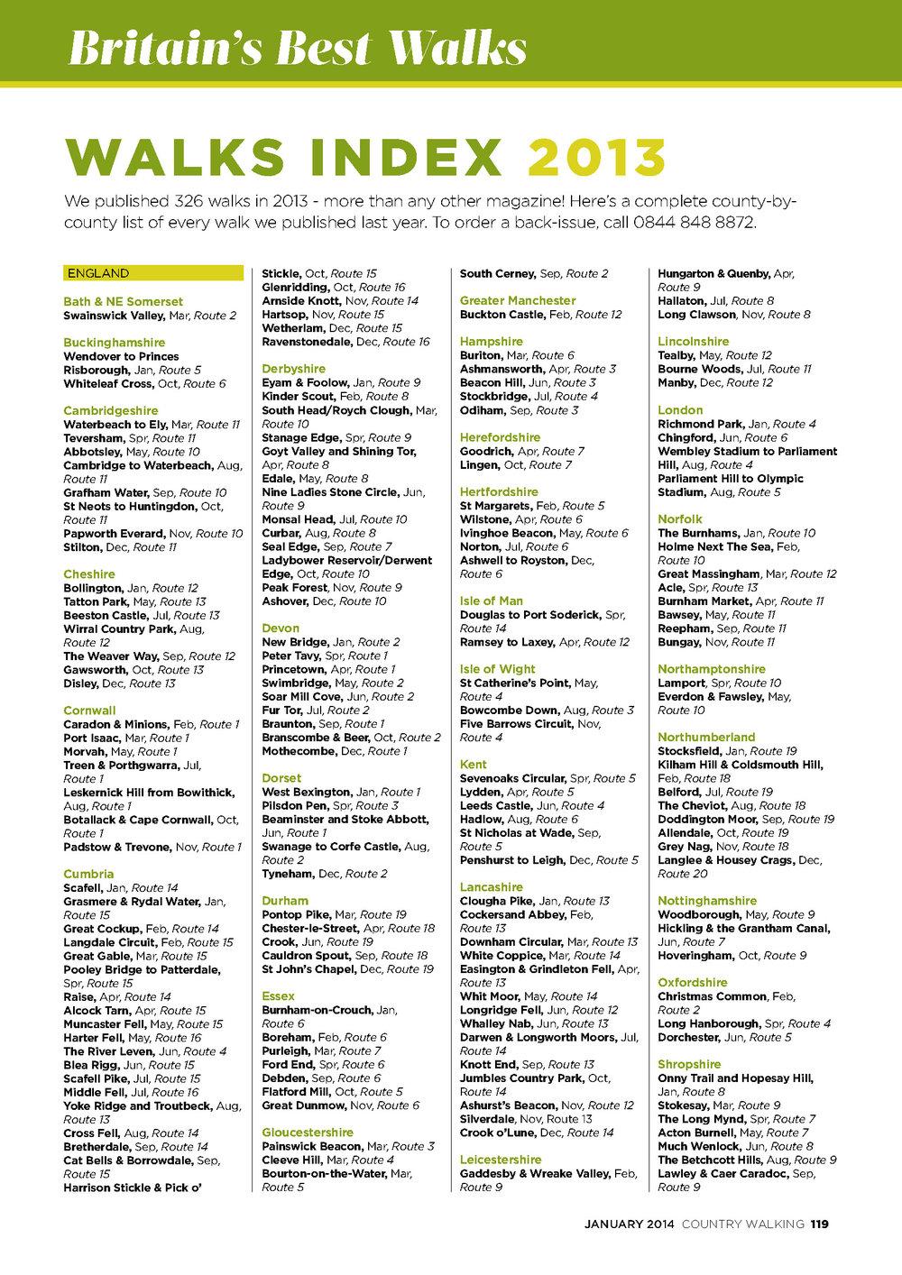 Walks Index 2013