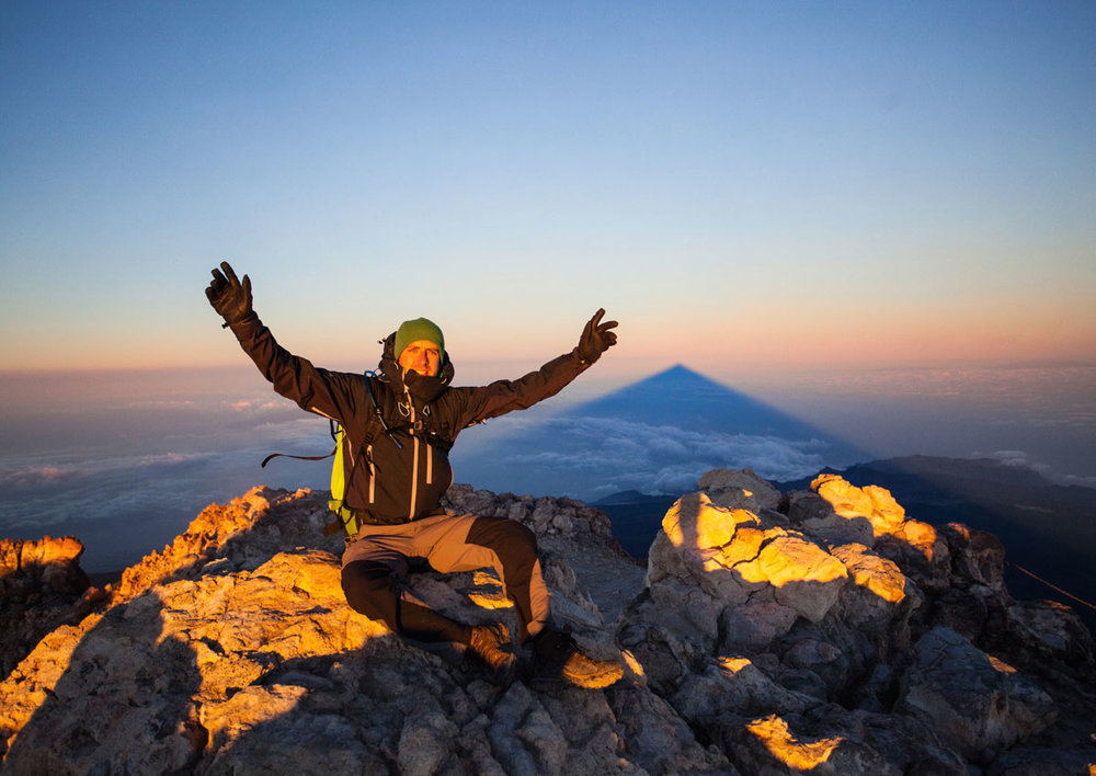 Sunrise at 3718m on the summit of a volcano. Now be honest – this isn't the view you picture when you think of Tenerife, is it?