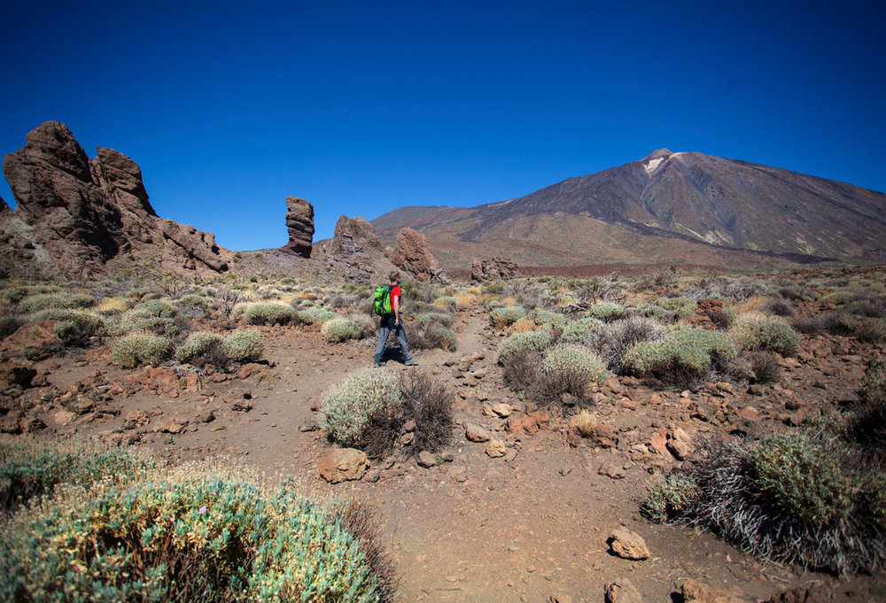 Looking up at Teide from the volcanic sculptures of the Roques de Garcia.