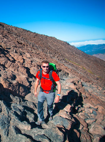 The walker's route up Teide crosses old lava flows.