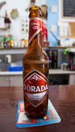Teide tipple. The volcano's image adorns a beer bottle.