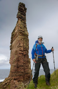 Sir Chris Bonigton below the Old Man of Hoy.
