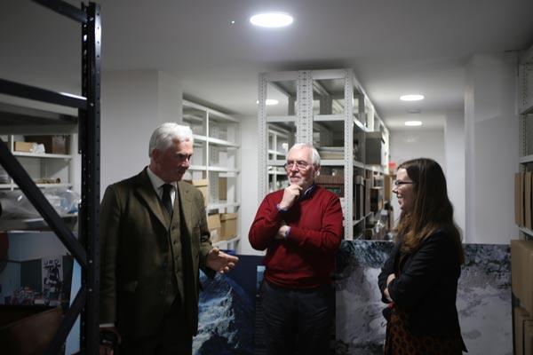 'Mr Frostbite' Nigel Vardy, Alpine Club archivist Glyn Hughes and Kelda Roe of the Mountain Heritage Trust.