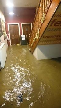 The hostel entrance during floods