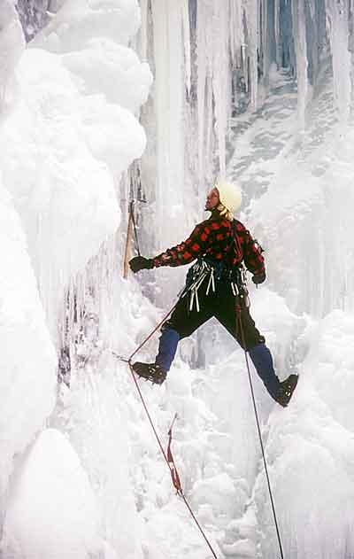 1974 - Jeff Lowe on Bridalveil Falls