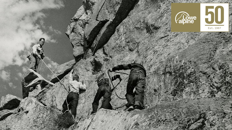 Ralph Lowe on Grand Teton roped to Mike (left) Greg and Jeff (far right.)