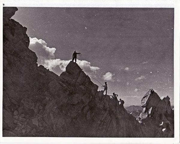 Ralph, Mike, Greg and Jeff climbing Teton Ridge in the mid-1950s.