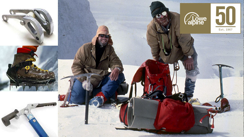 Lowe Alpine's innovations were, in Mike Lowe's words, 'simply a bi-product of necessity.' Here is Lowe Alpine gear being tested on the 1976 expedition to the peak.