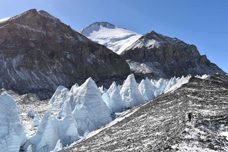 Incredible ice structure along the glacier between advance basecamp 6,400 and interim camp 5,900m. Image by Mollie Hughes