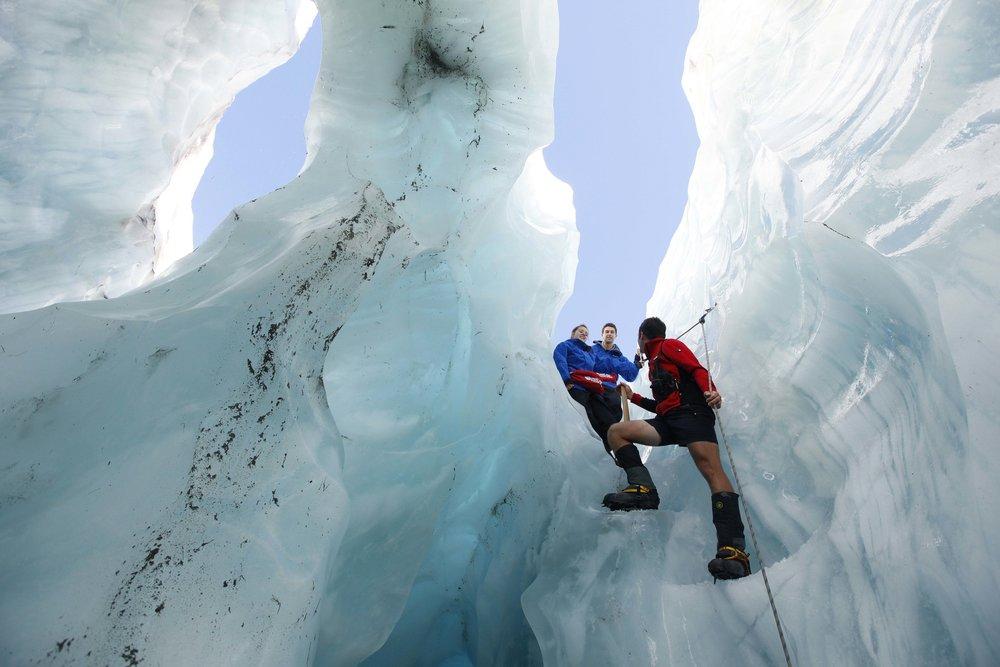 Franz Josef glacierHeading into a crevase.jpg