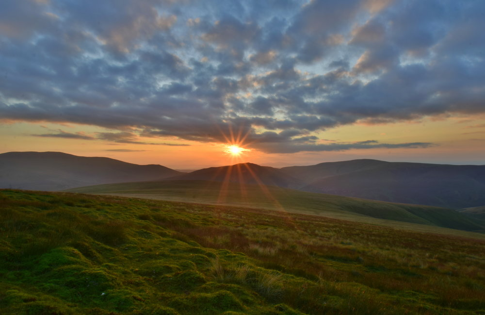 Sunset over the Northern Fells in the Lakes.