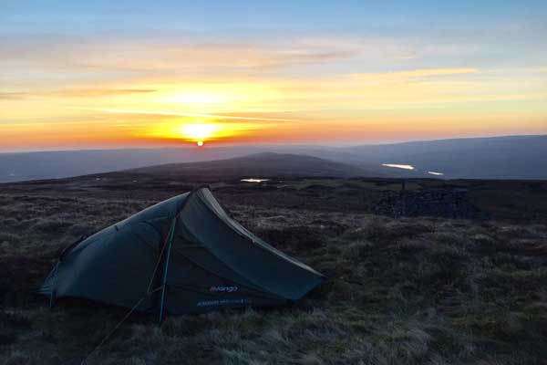 Sunset while wild camping at Dead Stones, Northern Pennines