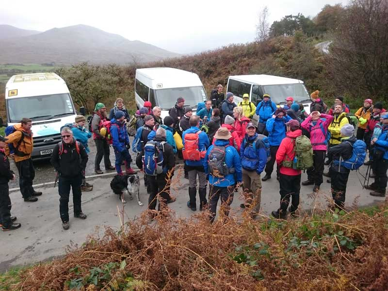 The group is briefed before heading up into the fells.