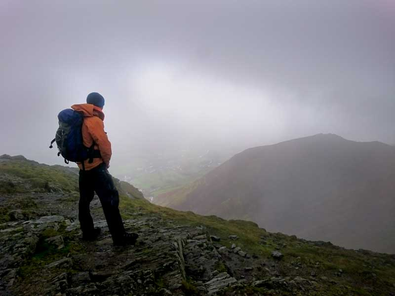 Rob enjoying the atmospheric views from the fells.