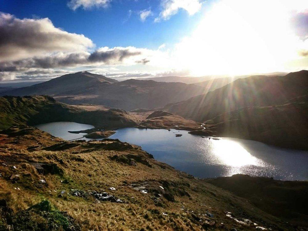 Morning sun over Llyn Llydaw