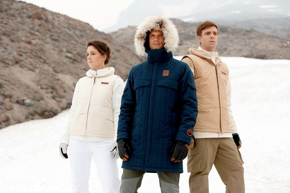 The Leia Organa Echo Base Jacket, Han Solo Echo Base Parka and Luke Skywalker Echo Base Jacket from Columbia Sportswear