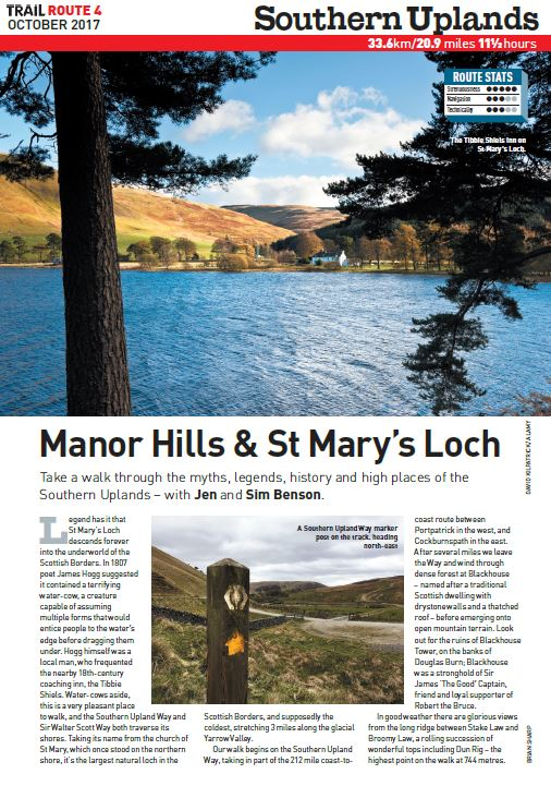 Sublime Southern Uplands   Discover Manor Hills and St Mary's Loch on this walk through myth, legend and history in Southern Scotland.  Total ascent: 1097 metres