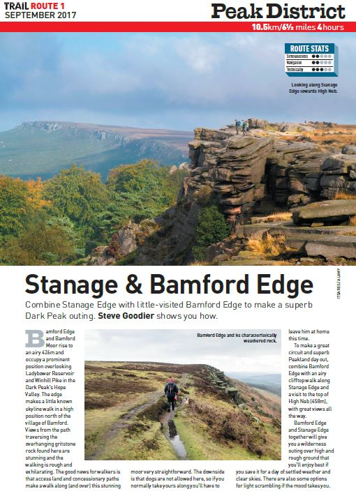 A Peak-land warm-up   For an airy ledge walk in the Peak District, this walk takes you along the dramatic Stanage and Bamford Edges for a true taste of Dark Peak grit.  Total ascent: 300 metres