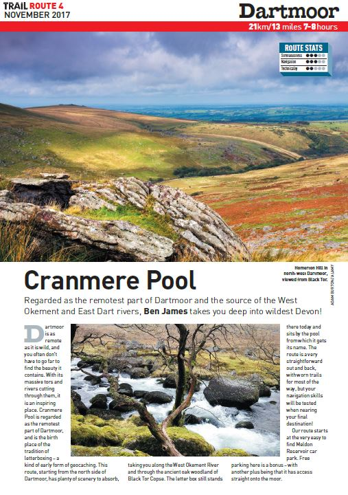 Venture into deepest darkest Dartmoor!   Discover a wilderness with rocky tors, ancient woodland, magical gorges and desolate moorland on this Devon journey to Cranmere Pool.  Total ascent: 1400 metres
