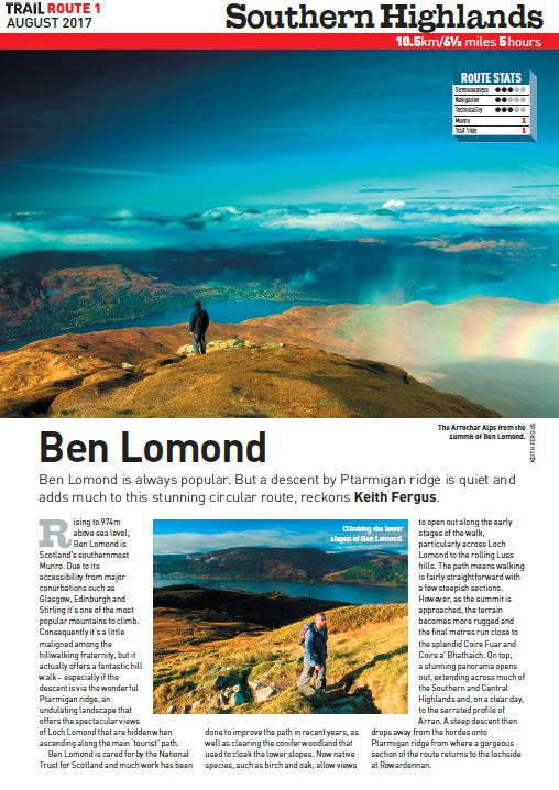 Sweet sweet Scotland   Get a taste of the highlands on Scotland's southernmost Munro, Ben Lomond – where spectacular high mountain views await...  Total ascent: 949 metres