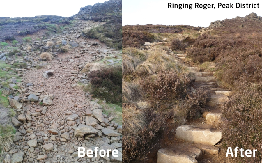 The path leading to Ringing Roger in the Peak District before and after Mend Our Mountains-funded work. Photo - Peter Judd and Peak District National Park