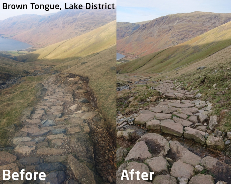 Path work on Brown Tongue, below the summit of Scafell Pike in the Lake District. Photo - Fix the Fells
