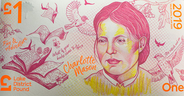 The LD£1 is based around 'Fun and Adventure', featuring pioneering Victorian educator Charlotte Mason. Charlotte Mason established her House of Education in Ambleside in 1892 and it is still part of the University of Cumbria campus on site. The LD£1 also features a view across the Fairfield Horseshoe near Ambleside.