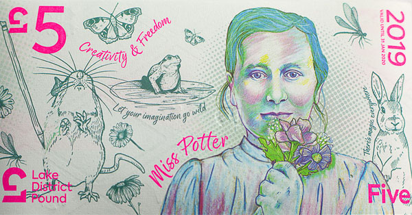 The LD£5 celebrates 'Creativity and Freedom', featuring Rebecca Gill's artistic portrait of children's author Beatrix Potter and a view across Buttermere in the Western Lake District.