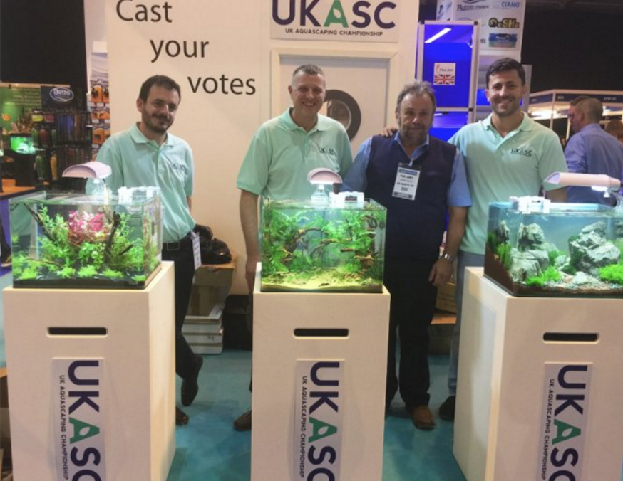 The three finalists from last year's UK Aquascaping Championship. From left: Manuel Arias, Stephen Rhodes, Paul James (J & K MD), and the 2015 Champion Antoni Dimitrov.