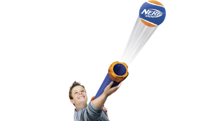 Try your target skills with the Nerf Dog Tennis Ball Blaster! Image by Rolf C. Hagen.