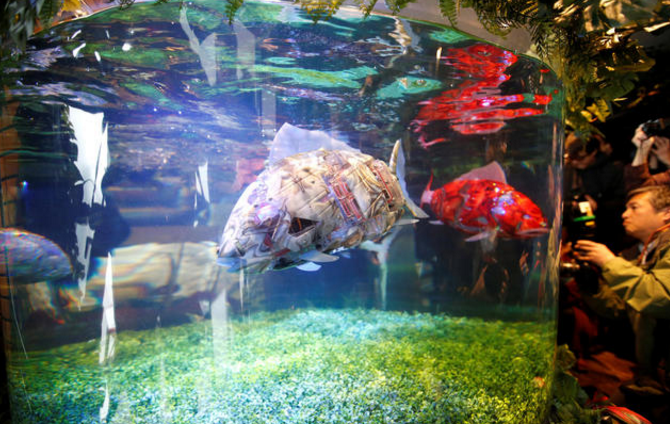 Robotic fish at the Henn na Hotel Maihama Tokyo Bay in Japan, which opened in March.