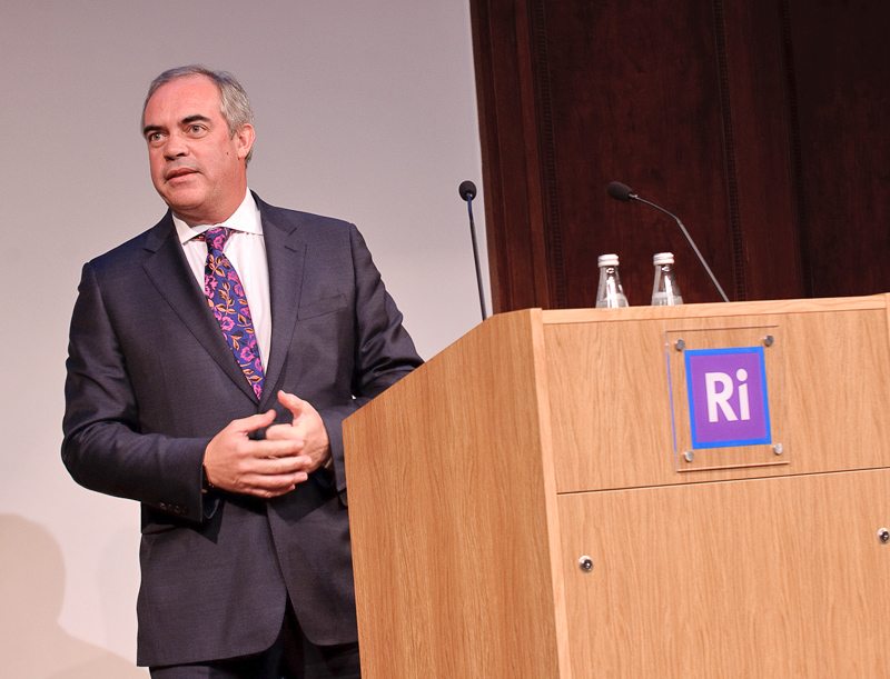 Richard Salvage speaking at The Royal Institution.