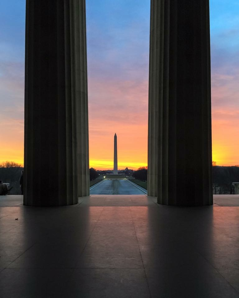 One of the quintessential Washington DC experiences is watching sunrise from the Lincoln Memorial.
