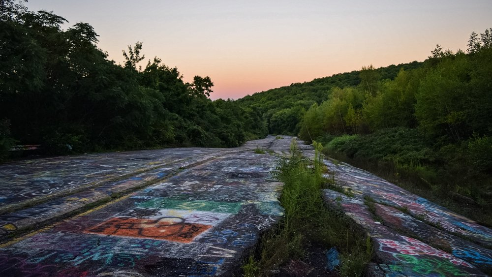 Old Route 61 has become a magnet for graffiti.