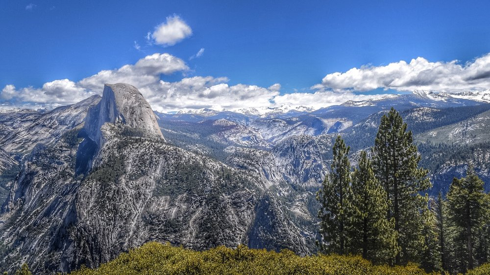 The view of Half Dome from Glacier Point.
