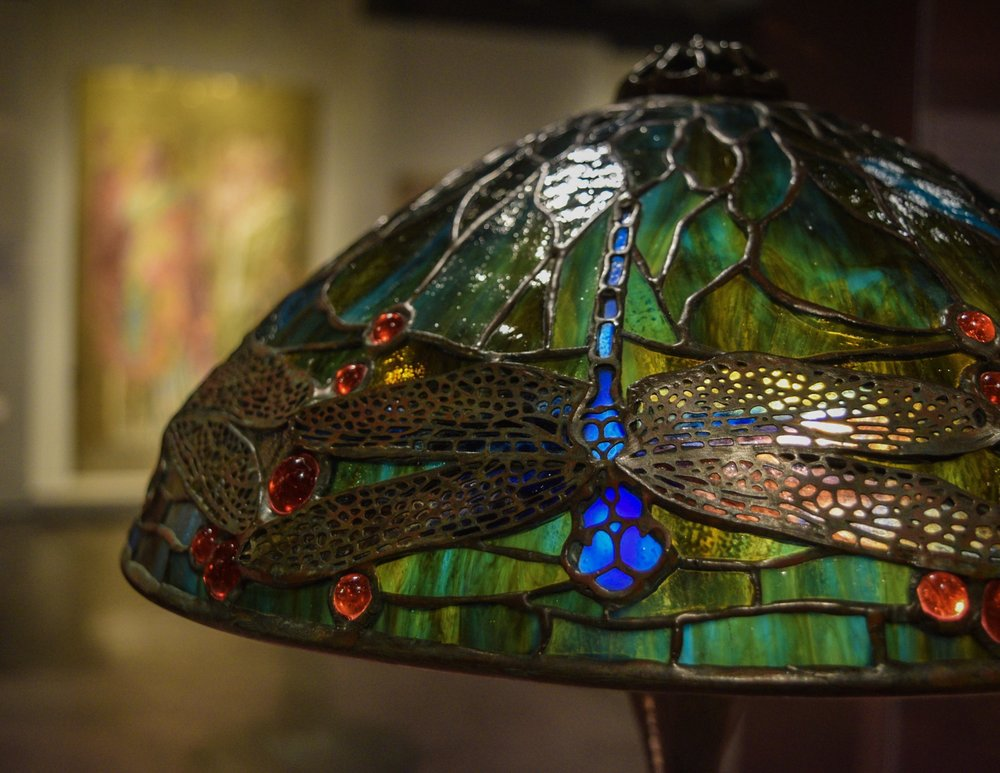 Lamps and religious windows from the Tiffany Studios.