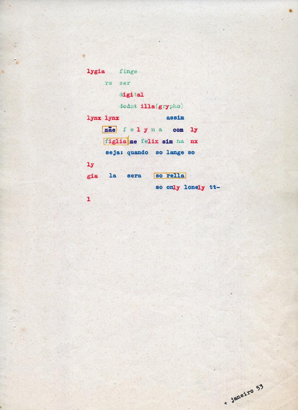"""2. Augusto de Campos,  lygia finge rs , 1953, Tapuscrit original du poème extrait de la série """"poetamenos"""" et publié dans la revue  noigandres , nº2, éd. des auteurs, São Paulo, 1955"""