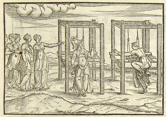 Rusconi, Giovanni Antonio, Pallas et Arachné, 1553, gravure sur bois