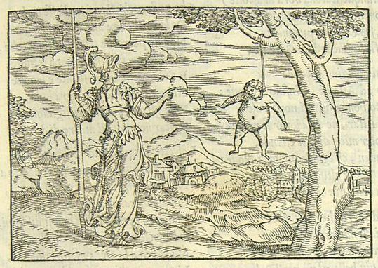 Rusconi, Giovanni Antonio, Pallas change Arachné pendue en araignée , 1553, gravure sur bois