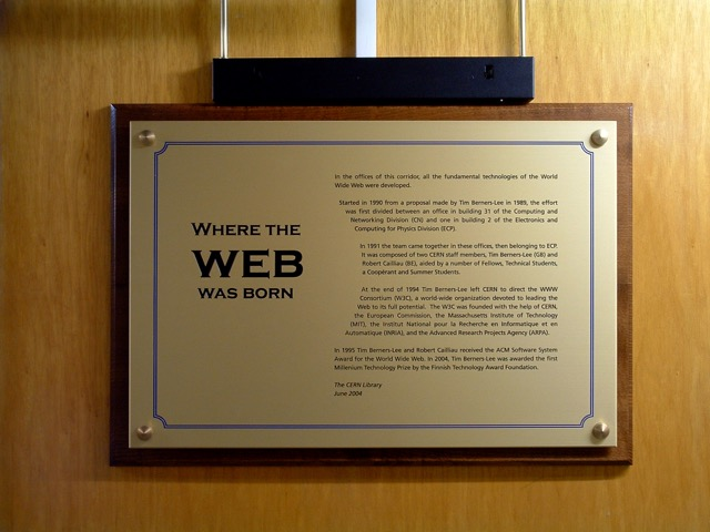 Où la toile est née, plaque commémorant la création duWorld Wide Webdans les locaux du CERN.