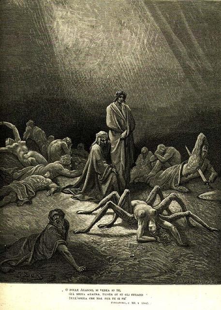 Gustave Doré, Arachné, c.1868 illustration pour laDivine ComédiedeDante.