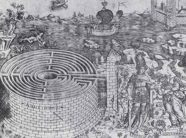 Anonyme, Le Labyrinthe de Crète et l'histoire de Thésée et d'Ariane, Vers 1460-1475. Burin en matière fine