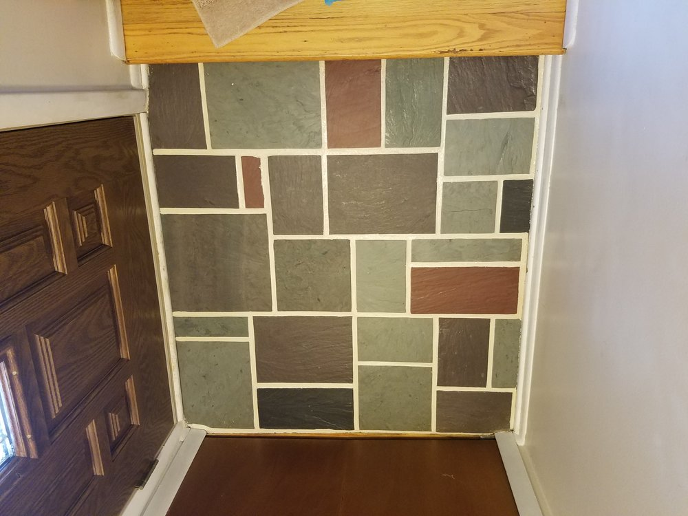 After applying a pigmented epoxy sealant the grout looks brand new!