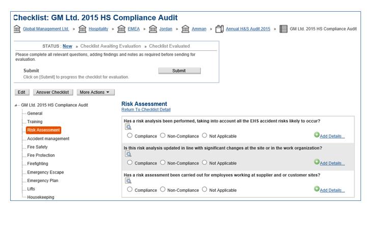 Configurable Compliance Checklists