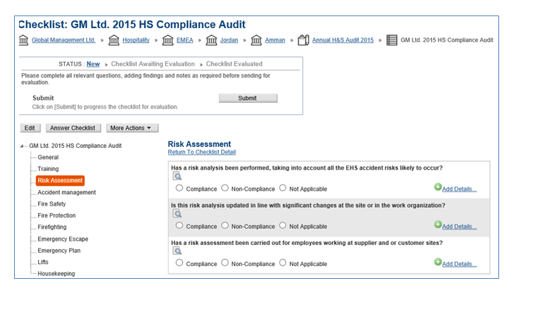 Configurable Compliance Checklists
