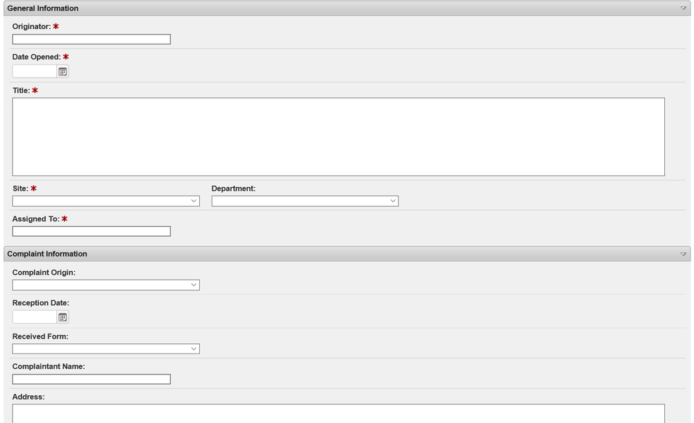 Customer complaint form - Configurable