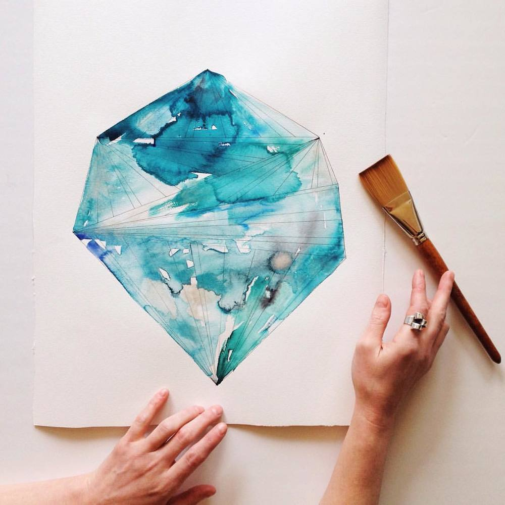 Aquamarine Watercolor Birthstone | Naomi Ernest | Original Art.jpg