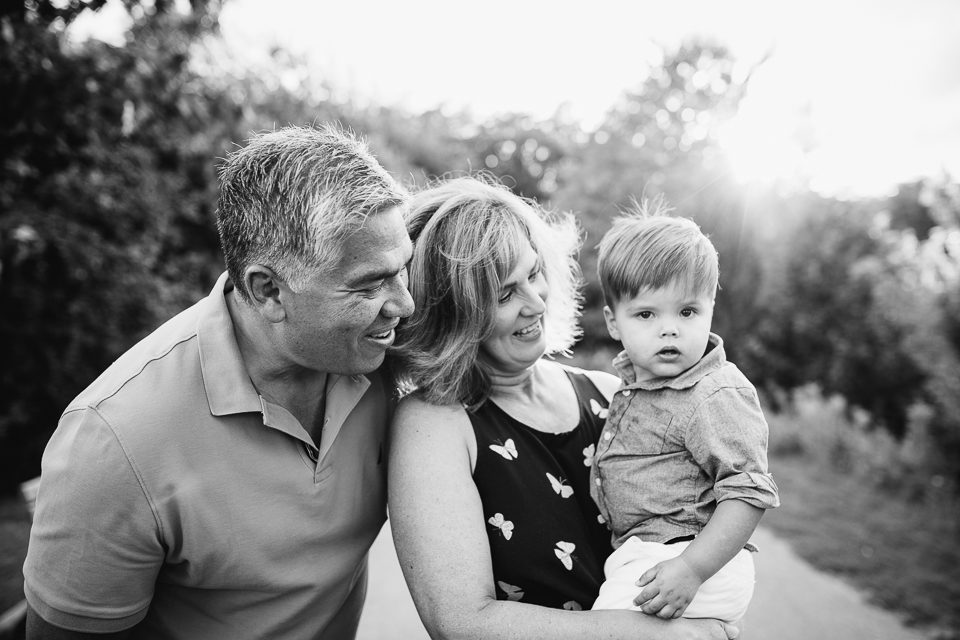 Grandparents holding and smiling at 2 year old grandson - Stouffville lifestyle photos