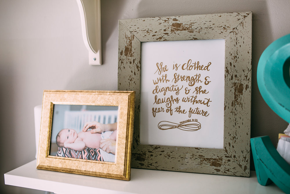 nursery details - she is clothed with strength and dignity and laughs without fear of the future - stouffville lifestyle photography